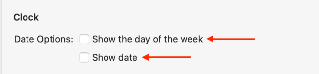 """Select """"Show the Day of the Week"""" and """"Show Date."""""""