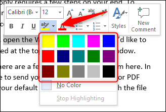 Color template in Word