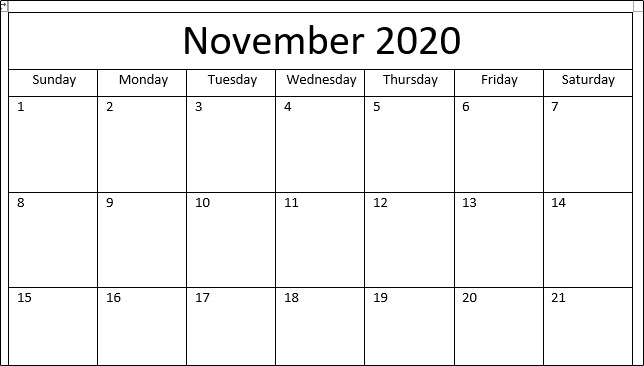 Completed Calendar