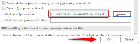 Confirmed location change for local file path
