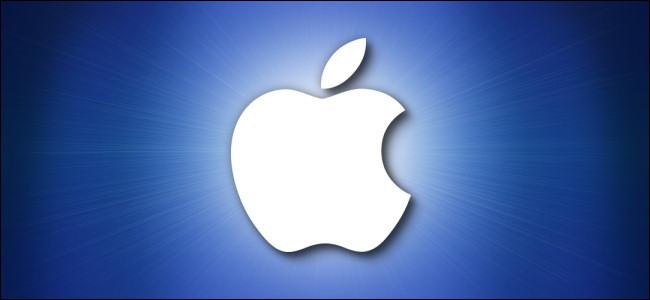 Logotipo de Apple sobre fondo azul.