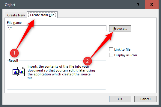 Create from file tab and browse option