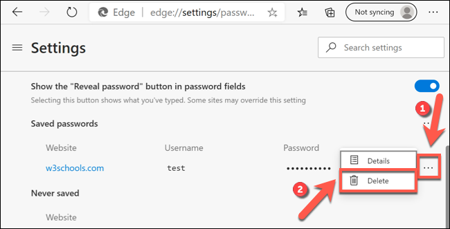 Click the three-dot menu icon next to a saved password entry, then press