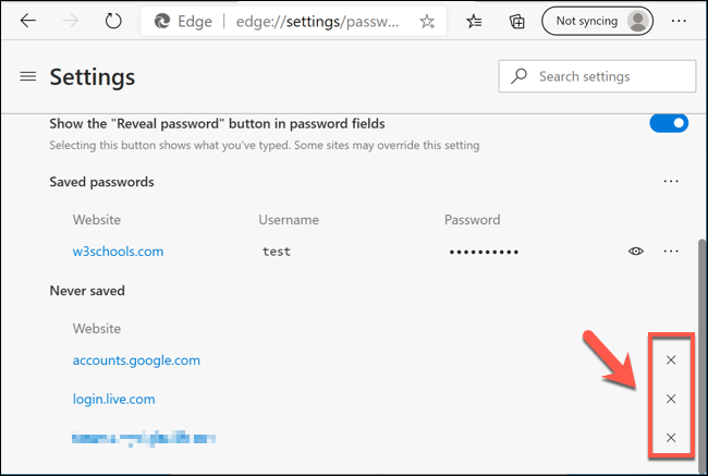 """To remove """"Never Saved"""" password entries, click the cross icon next to an entry in the Edge """"Passwords"""" settings menu."""