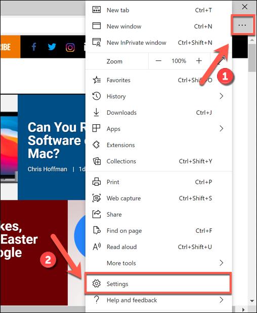 Press the three-dots menu icon > Settings to access the Edge settings menu.