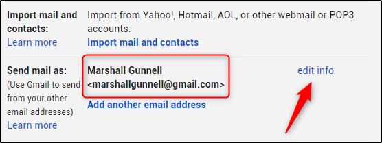 Edit info button next to to send email as
