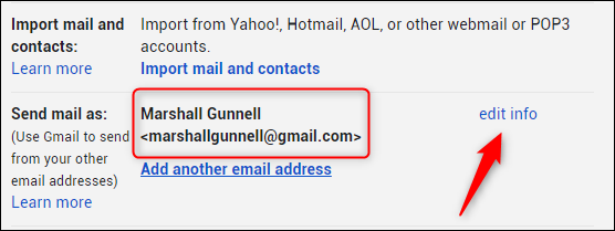 Edit info button next to send mail as