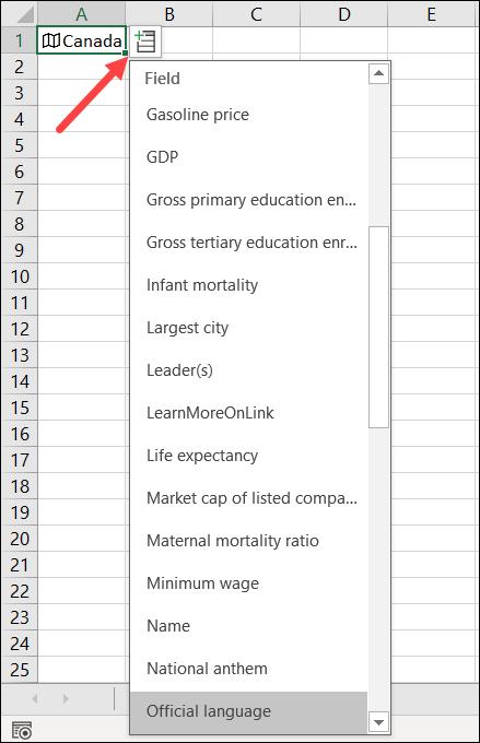 "The Insert Data menu for ""Canada."""