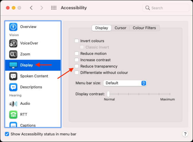 Go to Display menu and enable Reduce Transparency