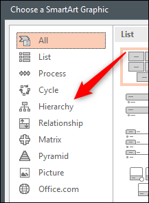 Hierarchy tab