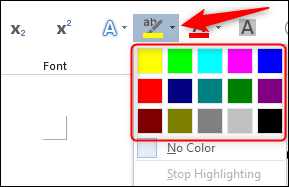 Highlight colors in font group