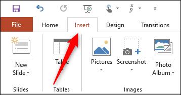 Insert tab in PowerPoint