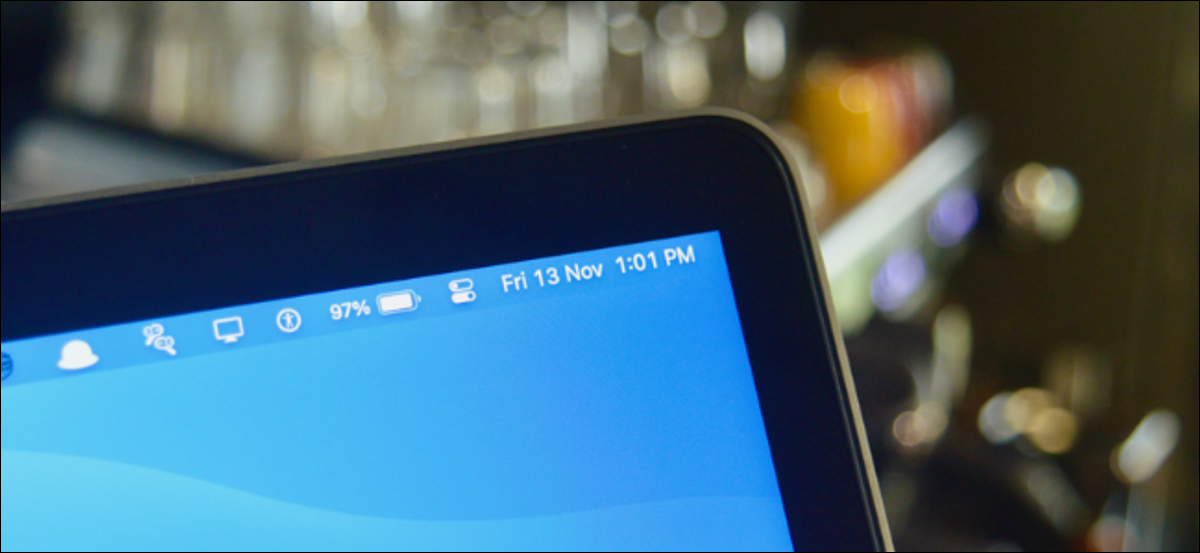 The date and time in the Mac Menu Bar.