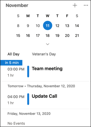 My Day agenda in Outlook