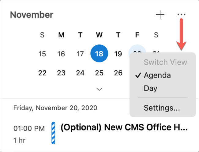 Click three dots for Agenda or Day view