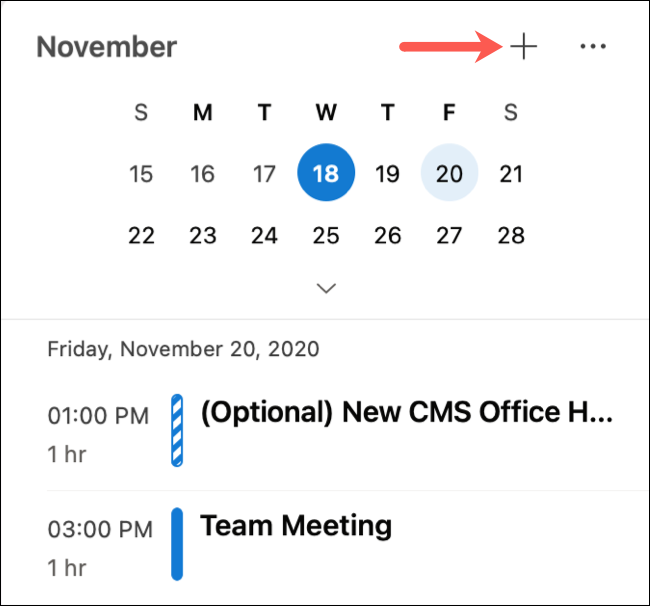 Click the plus sign for a new event in My Day