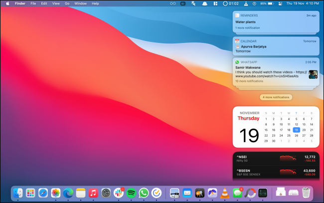 Notification Center with Notifications and Widgets