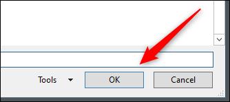OK button in File Explorer