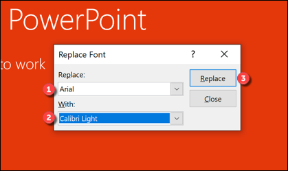 """Set the fonts you wish to replace (and be replaced with) from the drop-down menus, then press the """"Replace"""" button."""