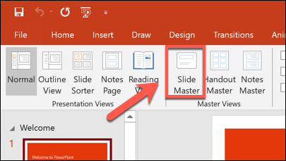 Press View > Slide Master to access the Slide Master template.
