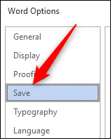 Save tab in word options window