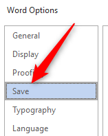 Save tab in word options window