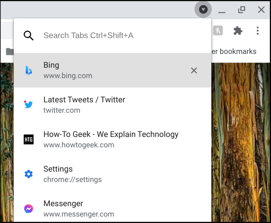 chrome tabs list and search