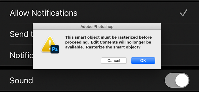 preview image showing annoying rasterize smart object dialog box