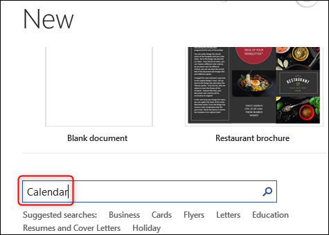 Search for calendars in word