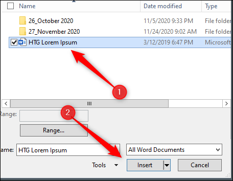 Select file to copy text from