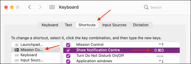 Set Keyboard Shortcut for Notification Center