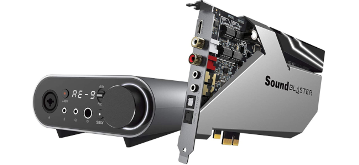 Creative's Sound Blaster AE-9 PCIe card with audio control module