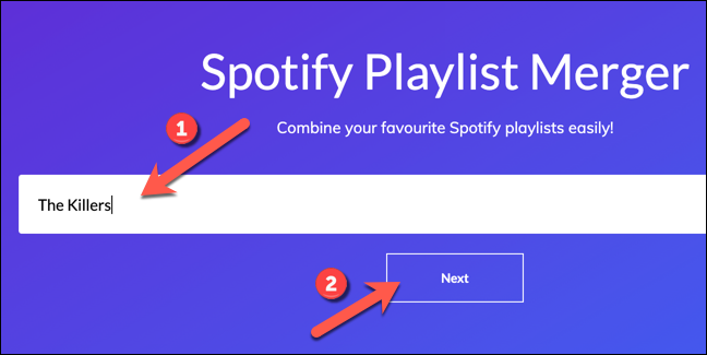 "In the ""Playlist Name or Link"" box, search for your first playlist, then press ""Next"" to continue."