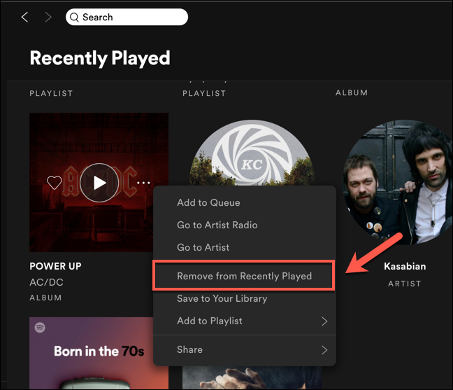 "Press the ""Remove From Recently Played"" option to delete the entry from your Spotify ""Recently Played"" list."