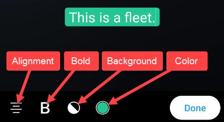 opções de frota de texto