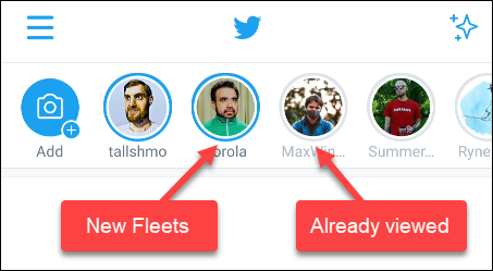 twitter fleets status