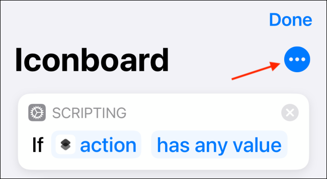 Tap Menu Button from Shortcut Editing View