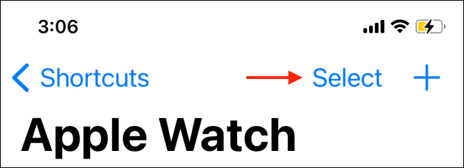 Tap Select from Apple Watch section