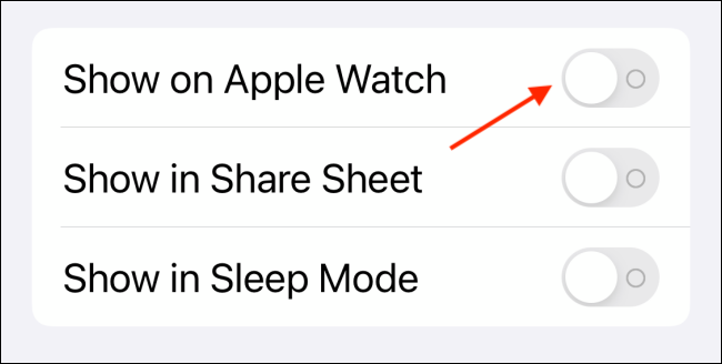 Tap on Toggle Next to Show on Apple Watch