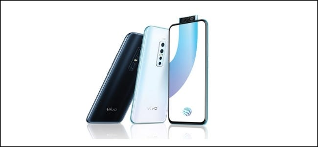 Three Vivo phones, one with the pop-up camera fingerprint scanner on its screen.