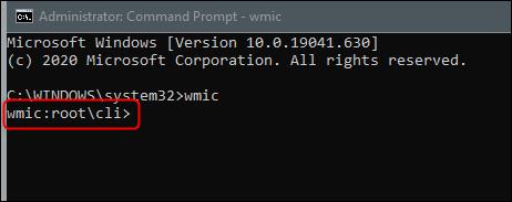 The WMIC command line.