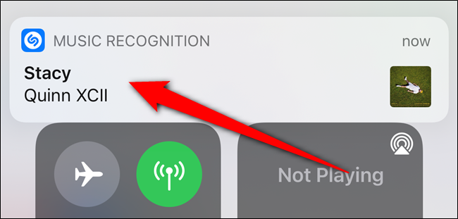 A banner notification will appear when the song is identified. Tap the notification