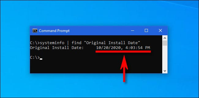 "Type the ""systeminfo"" command into a Windows command prompt to get the latest major update install date."