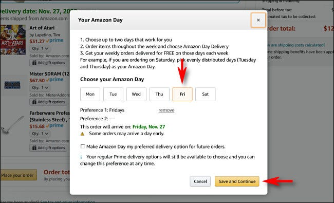 """Select your one or two Amazon Day delivery days then click or tap """"Save and Continue."""""""