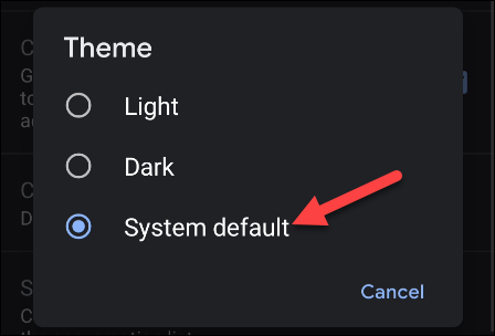 system theme in Gmail