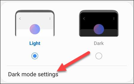 dark mode settings