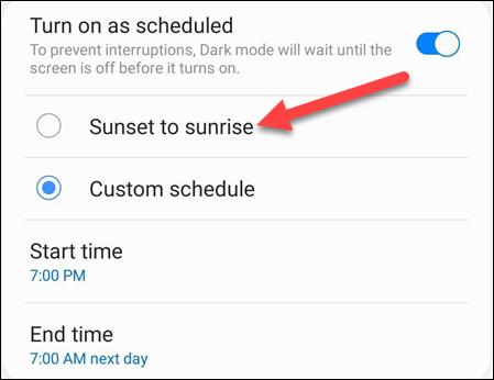schedule options