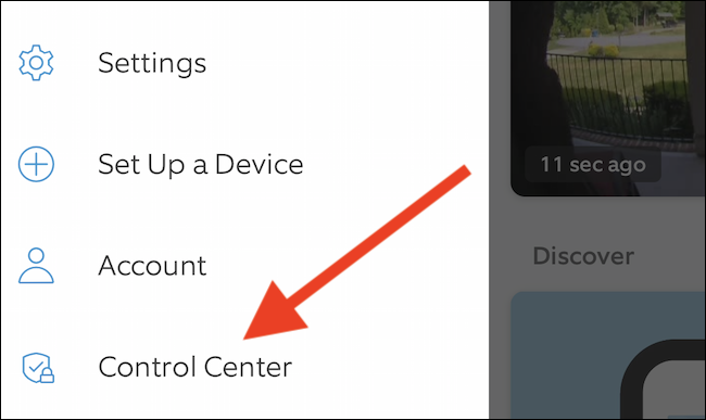 """Choose the """"Control Center"""" option from the menu"""