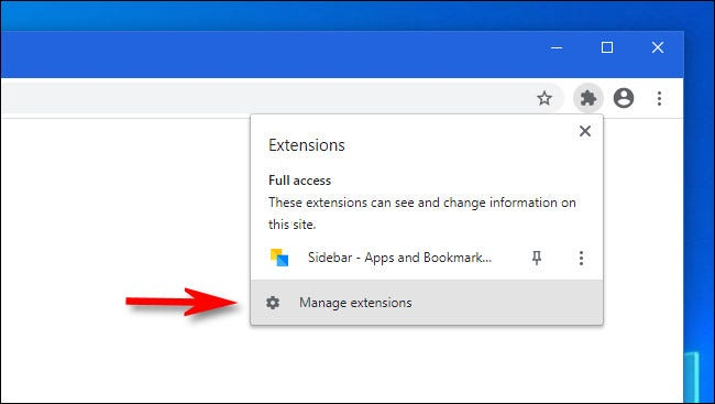 """In Google Chrome, click """"Manage extensions"""""""