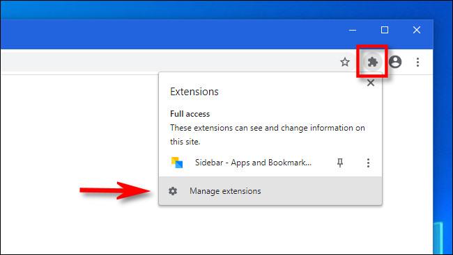 """A Chrome-ban kattintson a Bővítmények gombra, és válassza a lehetőséget """"Bővítmények kezelése."""""""